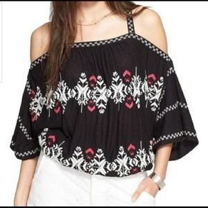 •Free People• Cold Shoulder Embroidered Top